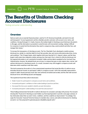 The Benefits of Uniform Checking Account Disclosures: Testing Consumer Understanding