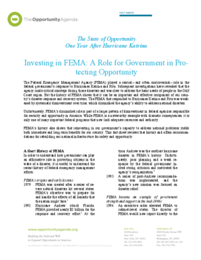 Investing in FEMA: A Role for Government in Protecting Opportunity