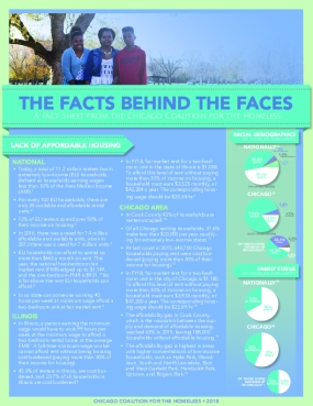 The Facts Behind the Faces: A Fact Sheet from the Chicago Coalition for the Homeless (2018)