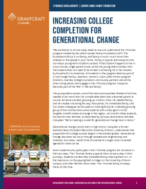 Increasing College Completion for Generational Change