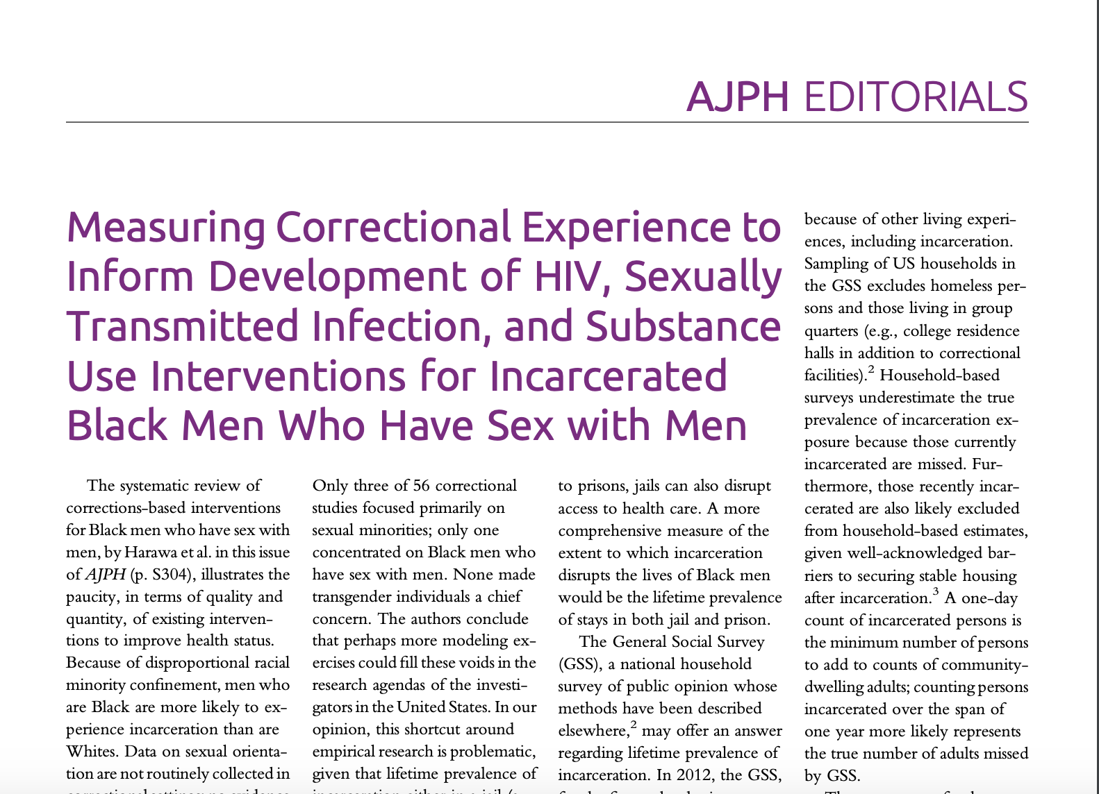 Measuring Correctional Experience to Inform Development of HIV, Sexually Transmitted Infection, and Substance Use Interventions for Incarcerated Black Men Who Have Sex with Men